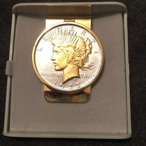 1922 Lady Liberty money clip; silver & gold